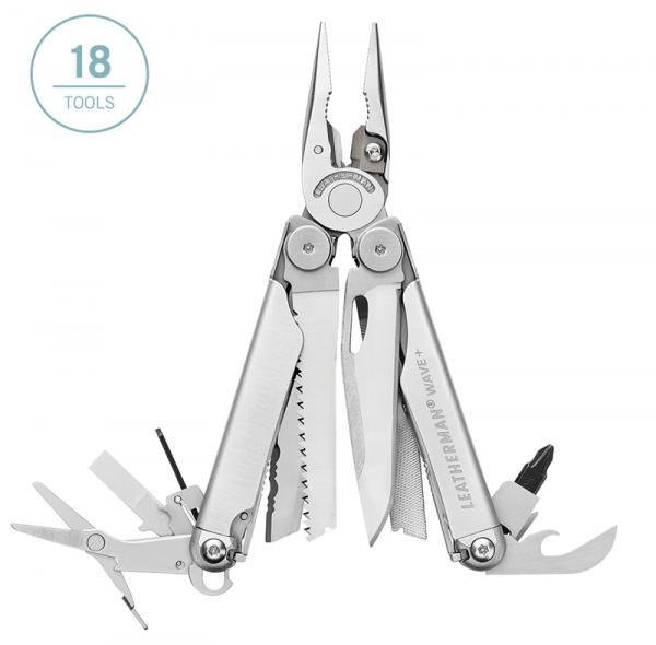 Leatherman Wave Plus multi-tool has 18 tools