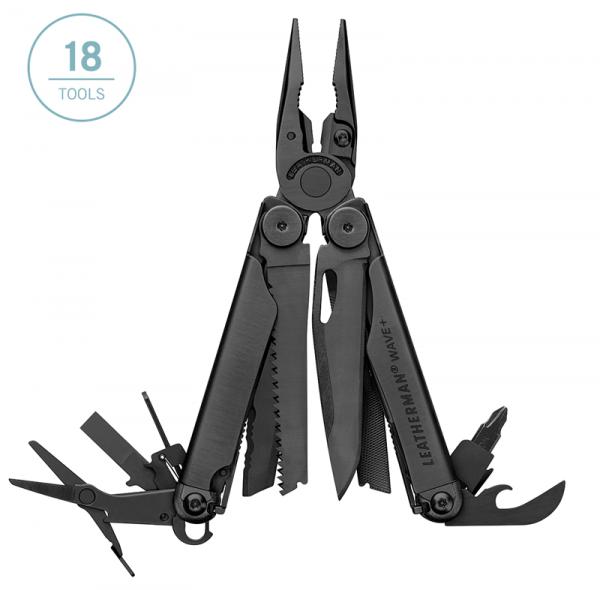 Leatherman Wave Plus multi-tool has 18 tools - black